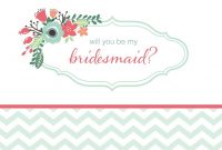Will You Be My Bridesmaid Cards Free  Printable for Will You Be My Bridesmaid Card Template