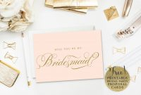 Will You Be My Bridesmaid Cards Free  Printable in Will You Be My Bridesmaid Card Template