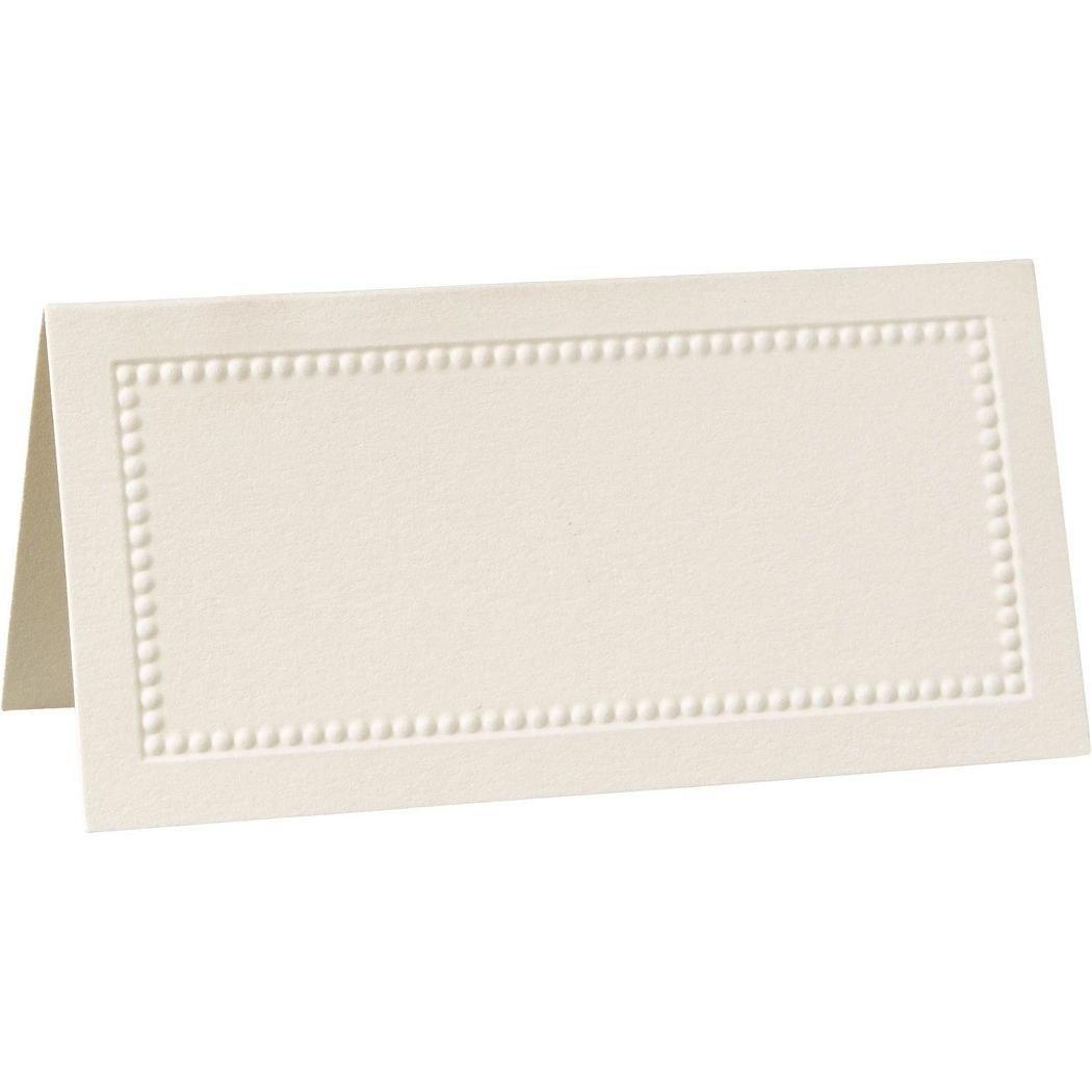 William Arthur Ecru Beaded Border Placecards  Table Decorations Regarding Paper Source Templates Place Cards