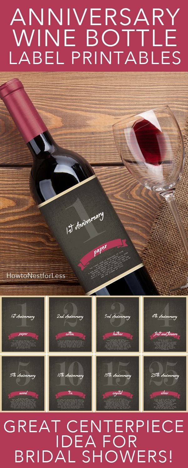 Wine Bottle Anniversary Labels Free Printable  Bloggers' Best Diy For Wine Bottle Label Design Template
