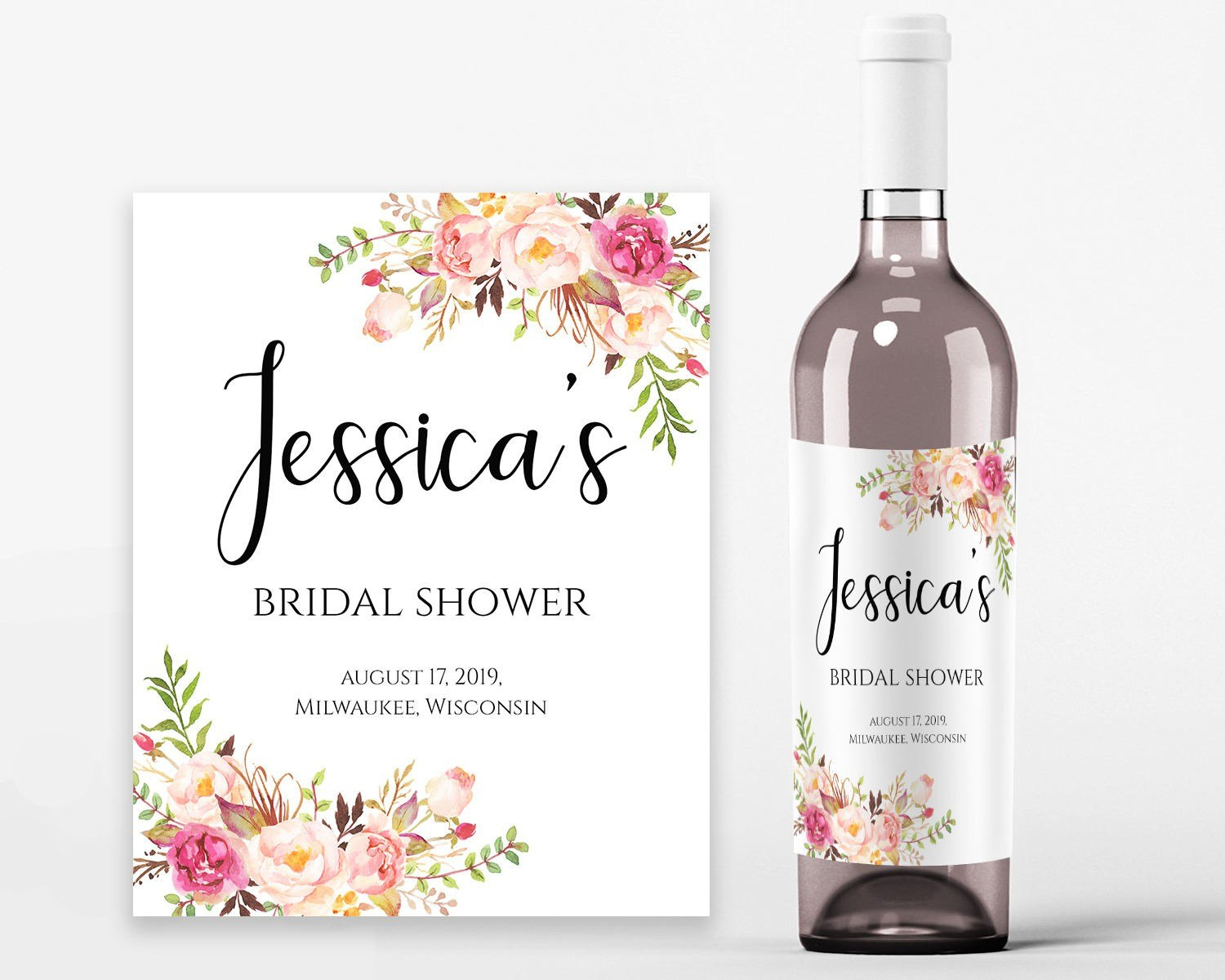 Wine Bottle Label Template Bridal Shower Labels Printable New Throughout Template For Wine Bottle Labels