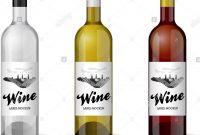 Wine Bottle With Handdrawn Label Retro Vintage Design Template Set intended for Wine Bottle Label Design Template