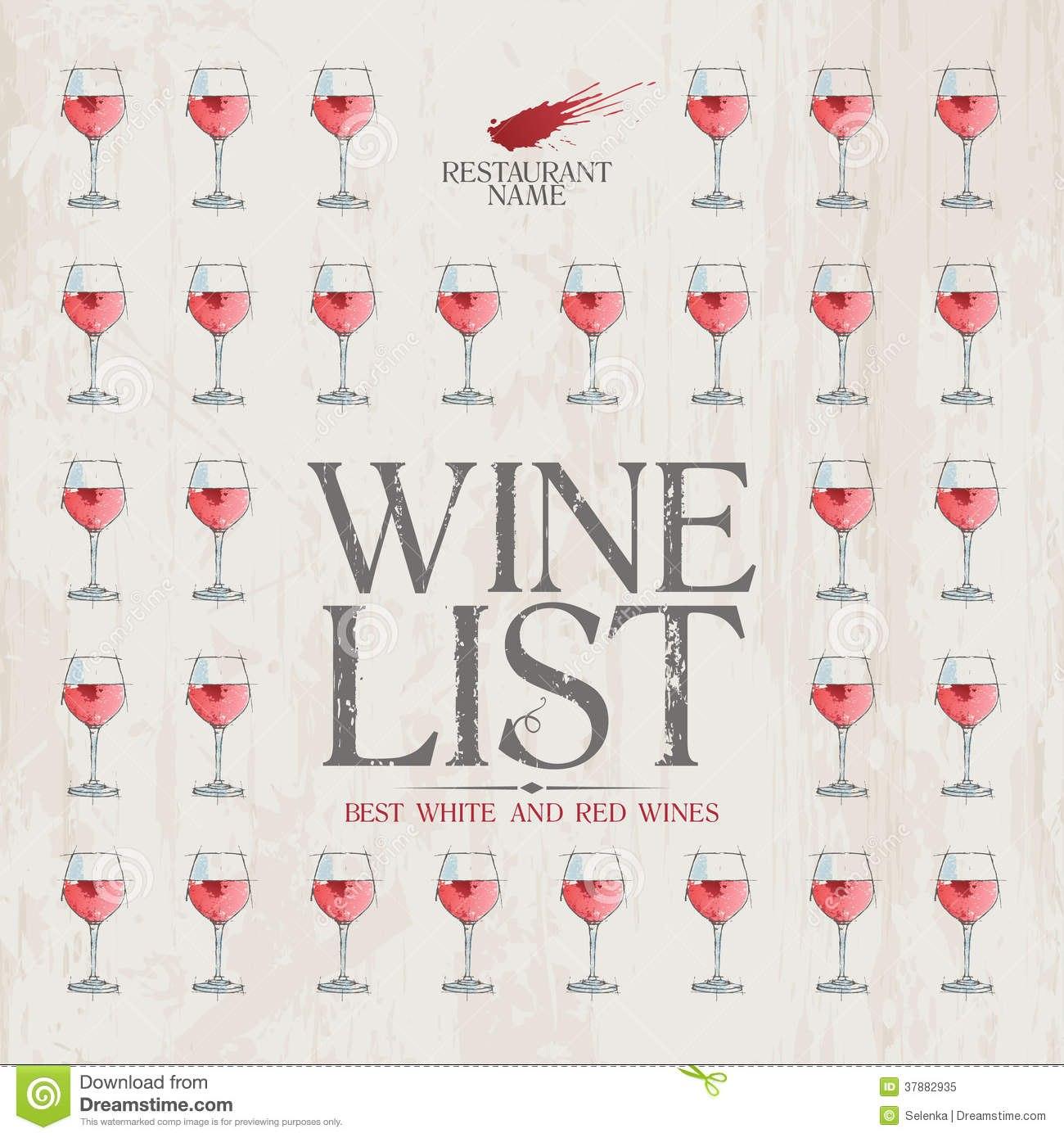 Wine List Menu Template Stock Vector Illustration Of Gourmet Regarding Free Wine Menu Template