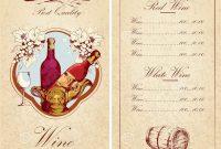 Wine List Template Illustration   Megapixl within Free Wine Menu Template