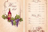 Wine List Template Royalty Free Vector Image  Vectorstock regarding Free Wine Menu Template