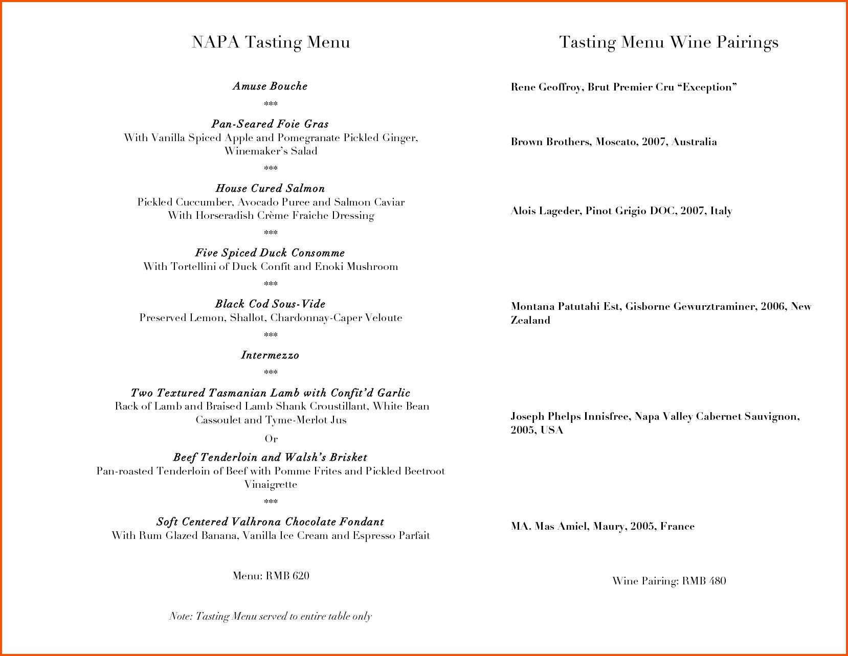 Wine Menu Template  Survey Template Words Pertaining To Wine Tasting Menu Template