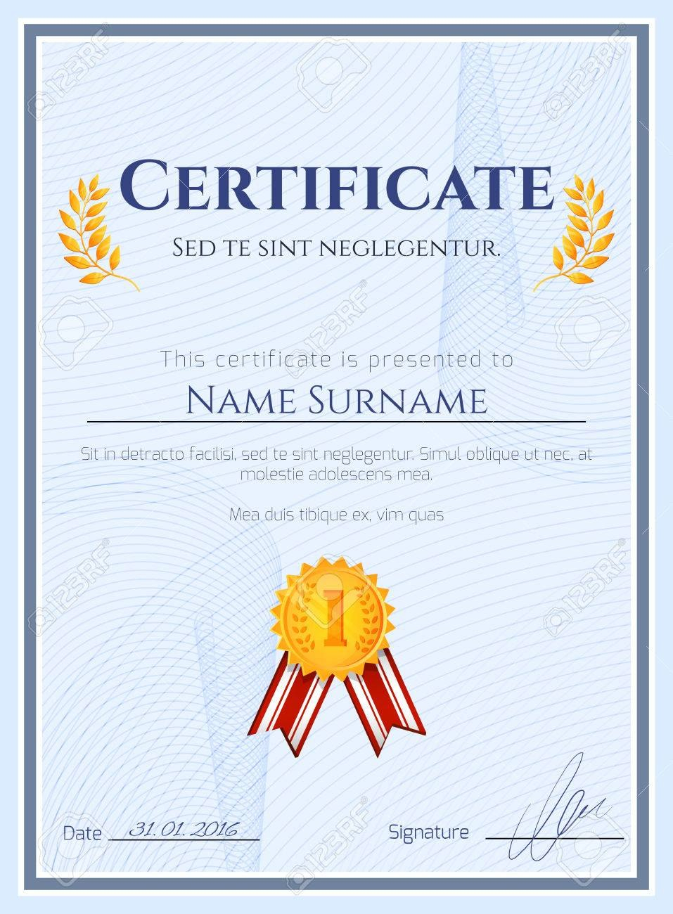 Winner Certificate Diploma Template With Seal Award Decoration In Winner Certificate Template