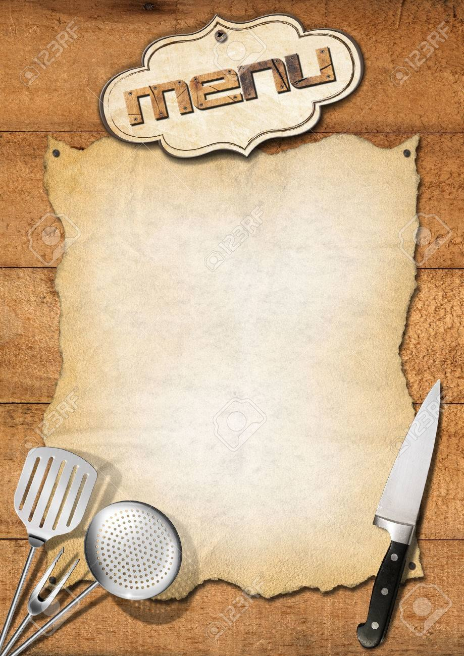 Wooden Boards With Empty Parchment And Kitchen Utensils Template With Empty Menu Template