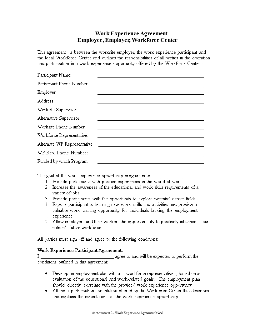 Work Experience Agreement  Templates At Allbusinesstemplates Within Program Participation Agreement Template