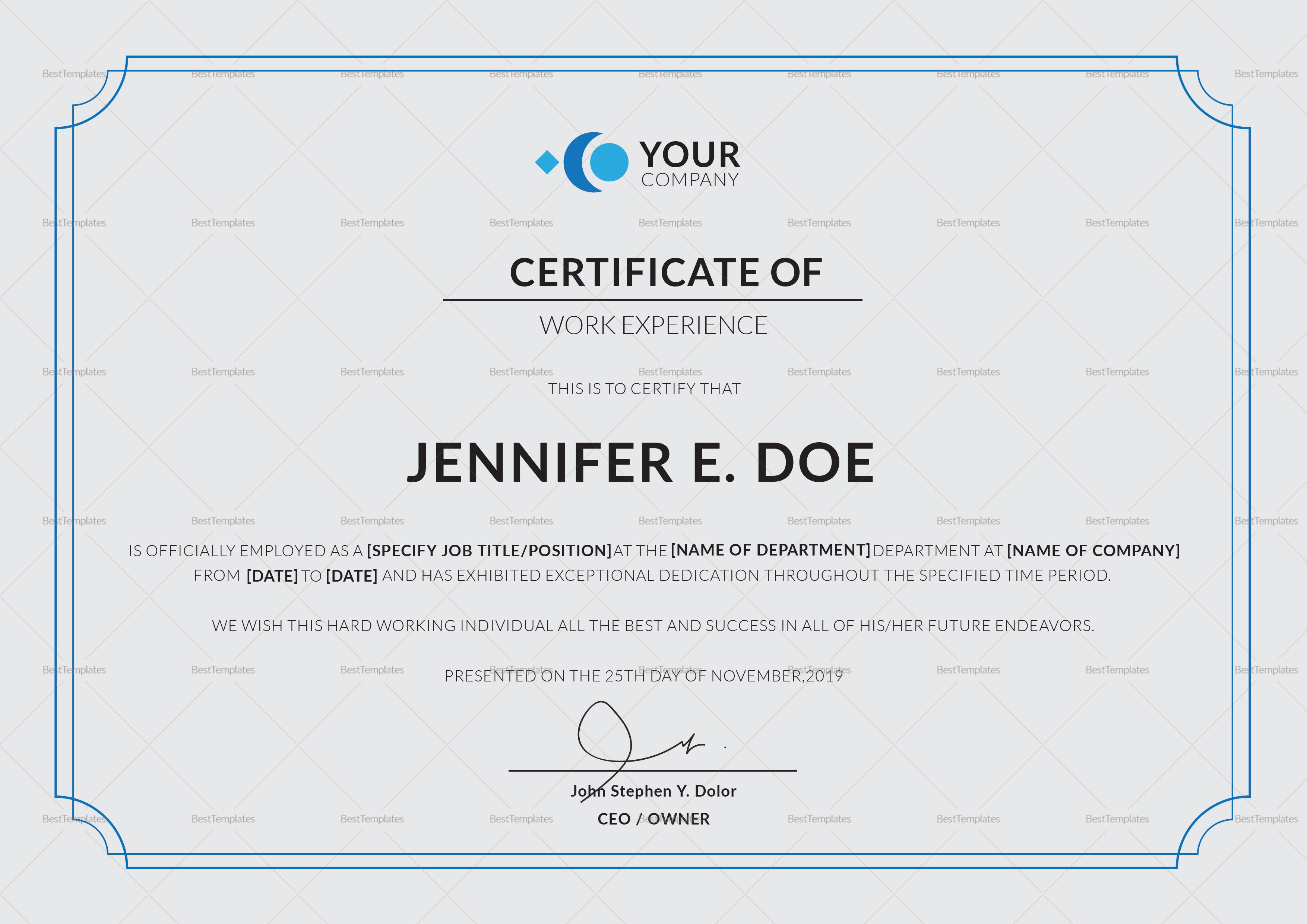 Work Experience Certificate Template In Psd Word Illustrator Within Certificate Of Experience Template