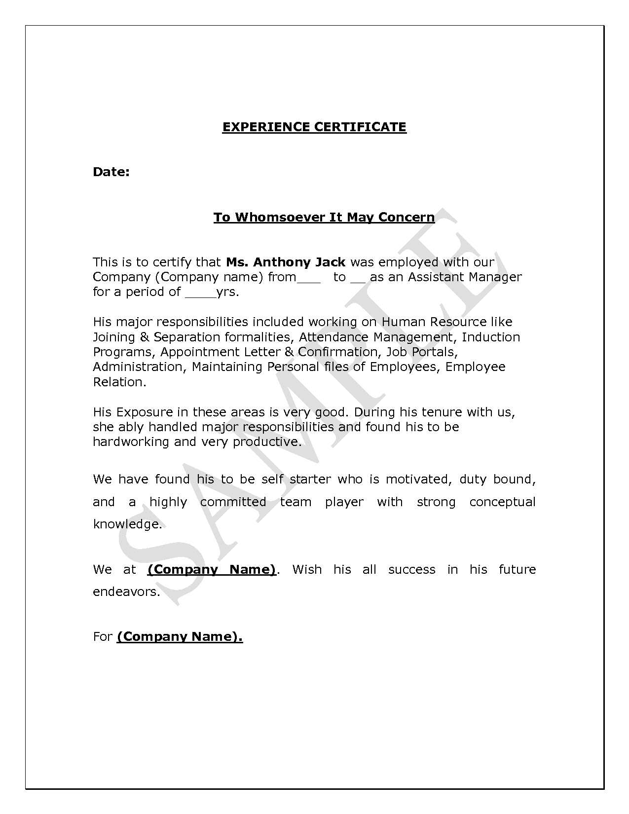 Work Experience Certificate Template Word  Certificatetemplateword Regarding Certificate Of Experience Template