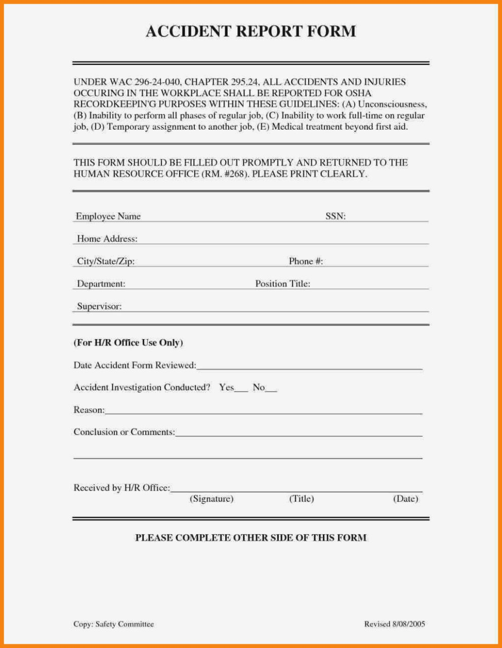 Workplace Incident Reporthazard Workplace Injury Report Form Inside Hazard Incident Report Form Template