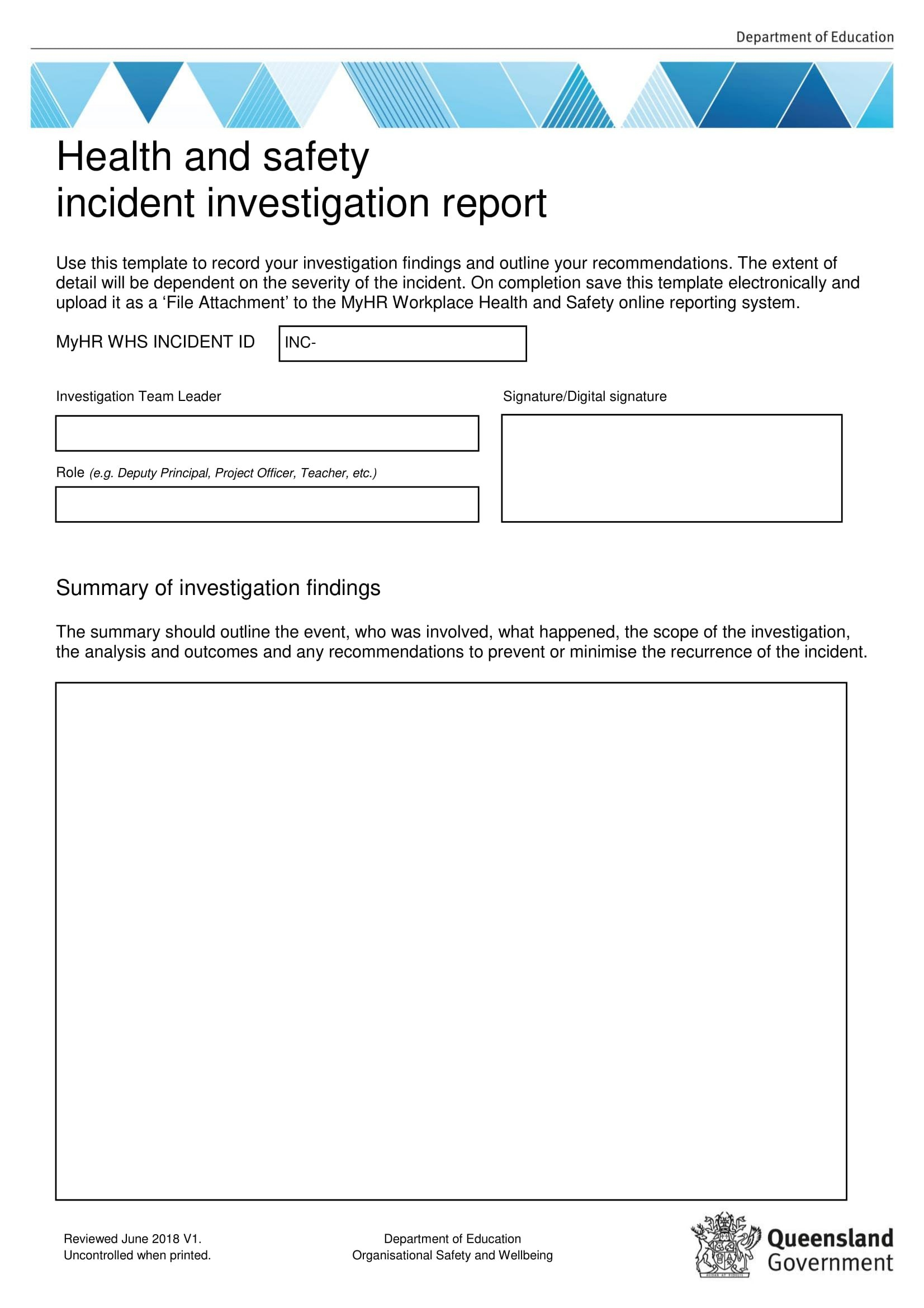 Workplace Investigation Report Examples  Pdf  Examples Throughout Incident Report Form Template Qld