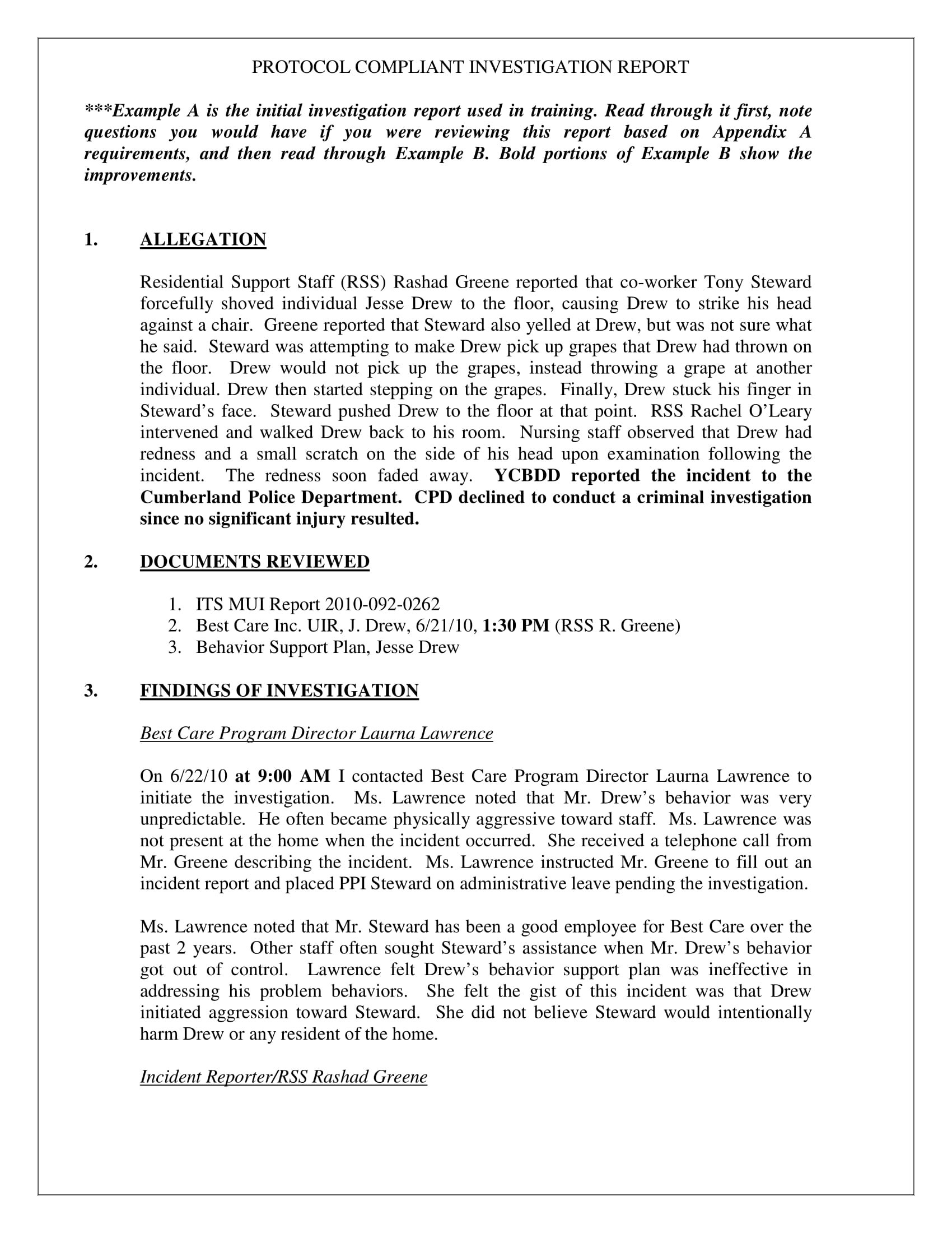 Workplace Investigation Report Examples  Pdf  Examples With Regard To Workplace Investigation Report Template