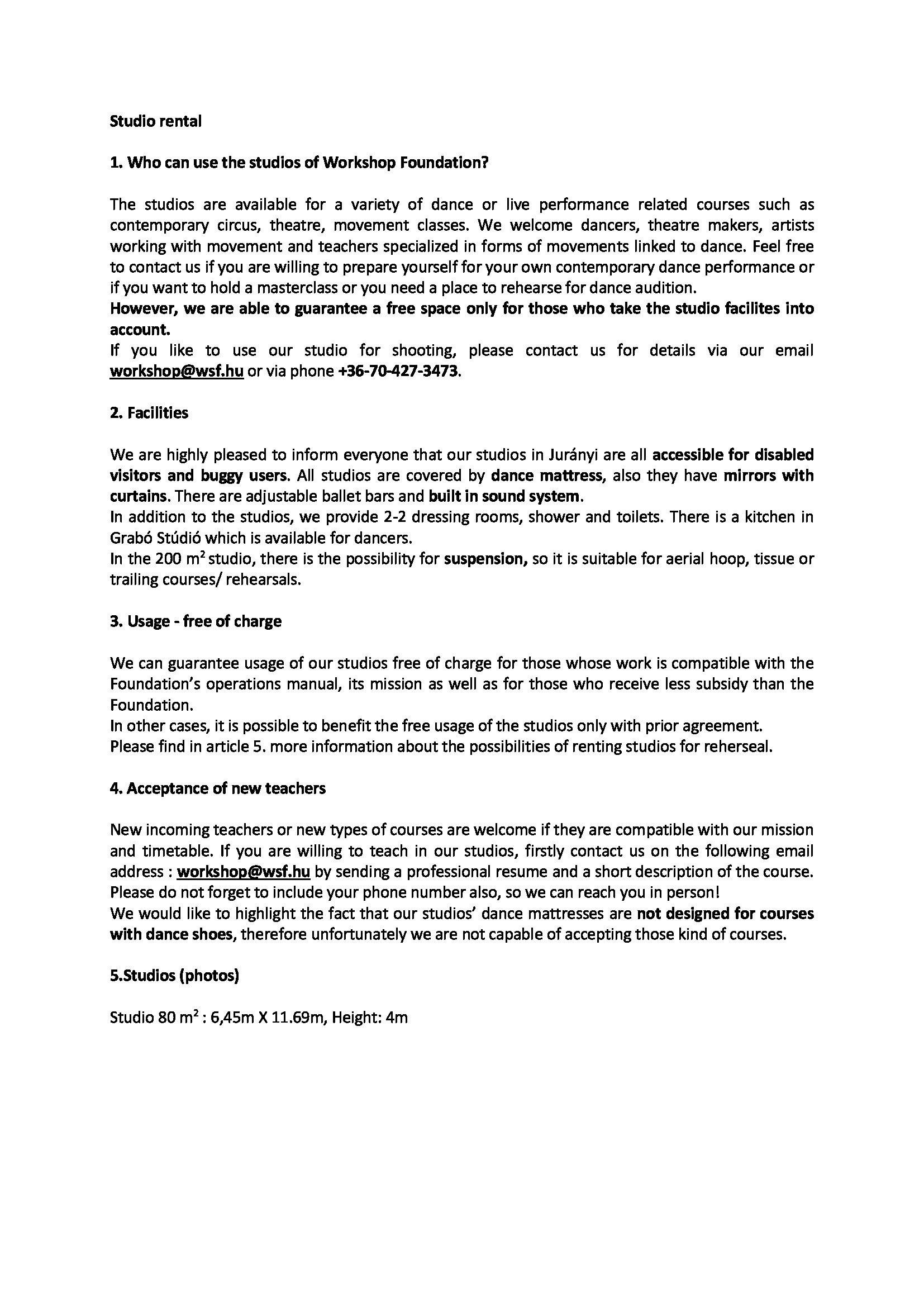 Workshop Foundation  Contemporary Dance  Home  Studio Rental Regarding Dance Studio Rental Agreement Template