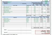 Workshop Job Card Template Excel Labor  Material Cost Estimator in Job Card Template Mechanic