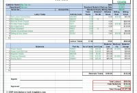 Workshop Job Card Template Excel Labor  Material Cost Estimator in Job Cost Report Template Excel