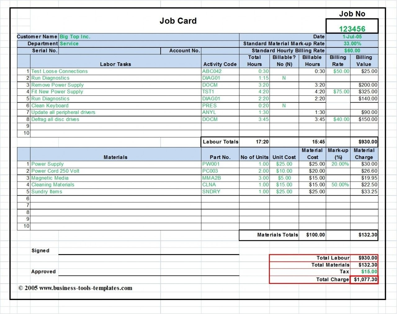 Workshop Job Card Template Excel Labor  Material Cost Estimator Pertaining To Service Job Card Template