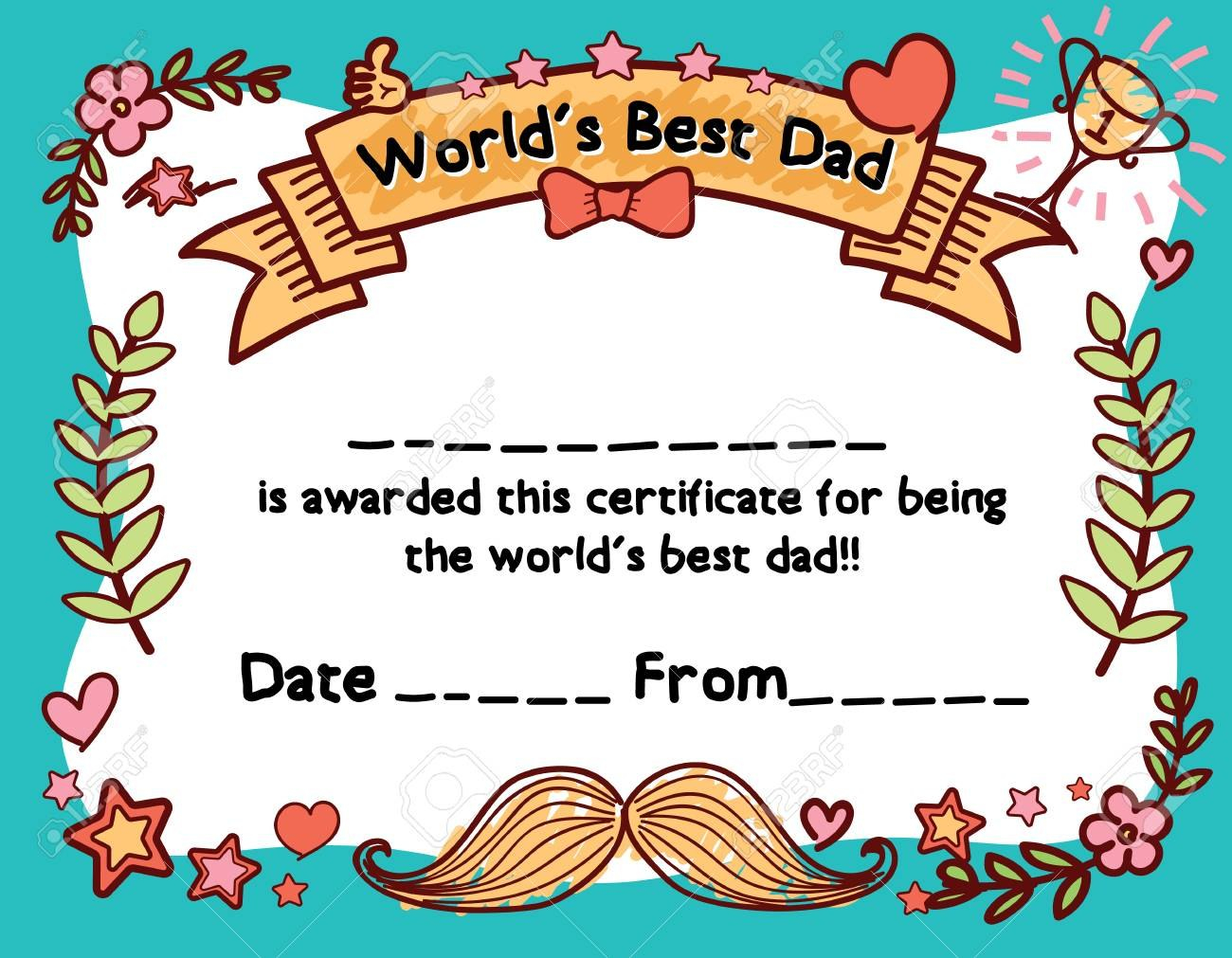 World's Best Dad Award Certificate Template For Father's Day Throughout Player Of The Day Certificate Template