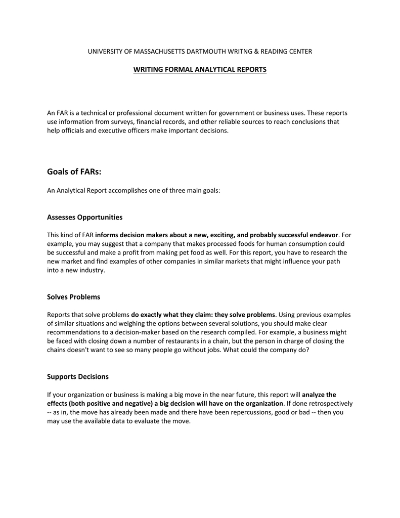 Writing Formal Analytical Reports With Regard To Analytical Report Template