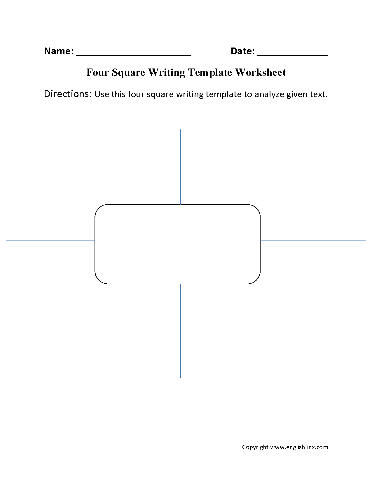 Writing Template Worksheets  Four Square Writing Template Worksheet Regarding Blank Four Square Writing Template