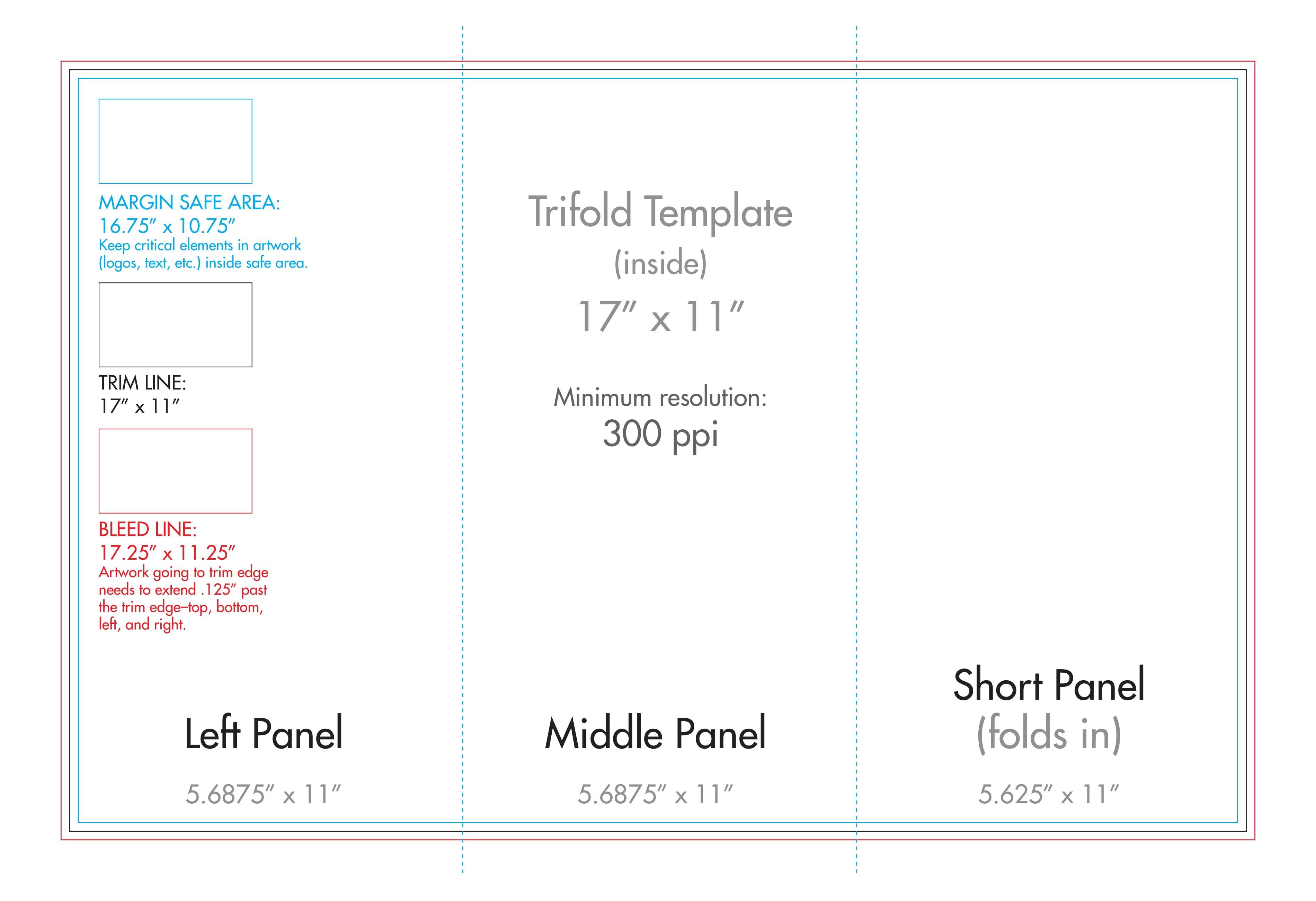 """ X "" Tri Fold Brochure Template  Us Press Pertaining To 11X17 Brochure Template"