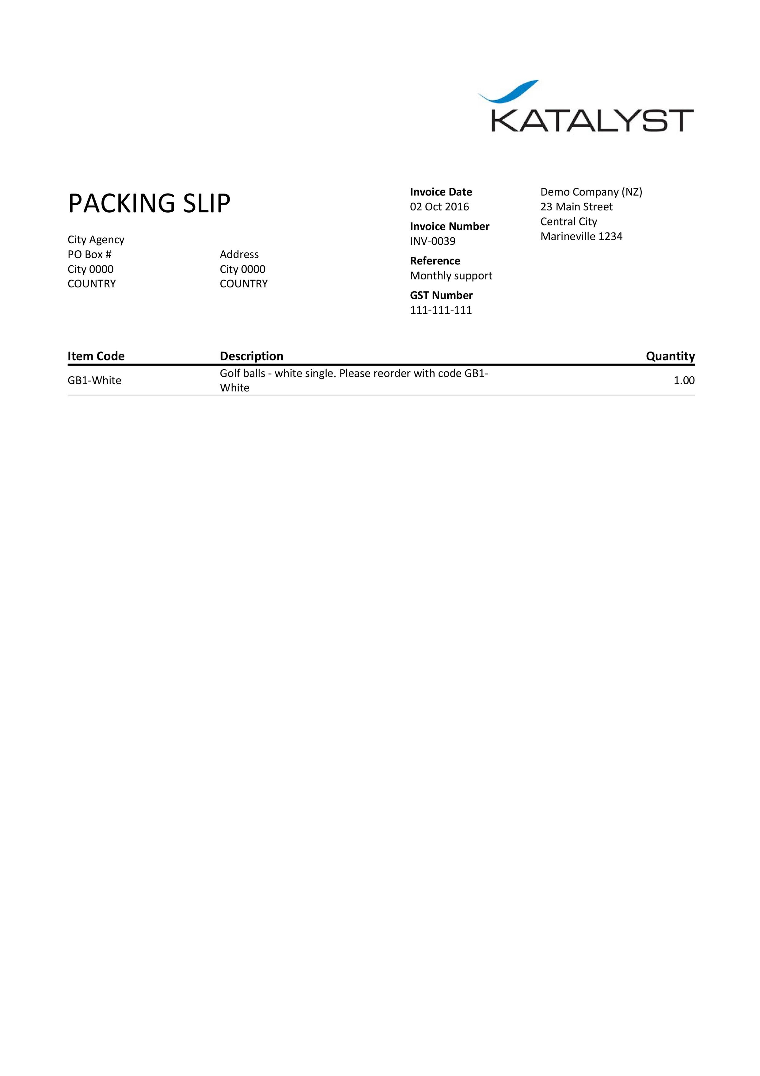 Xero Custom Template  Packing Slip  Katalyst Office  Bookkeeper Inside Xero Custom Invoice Template