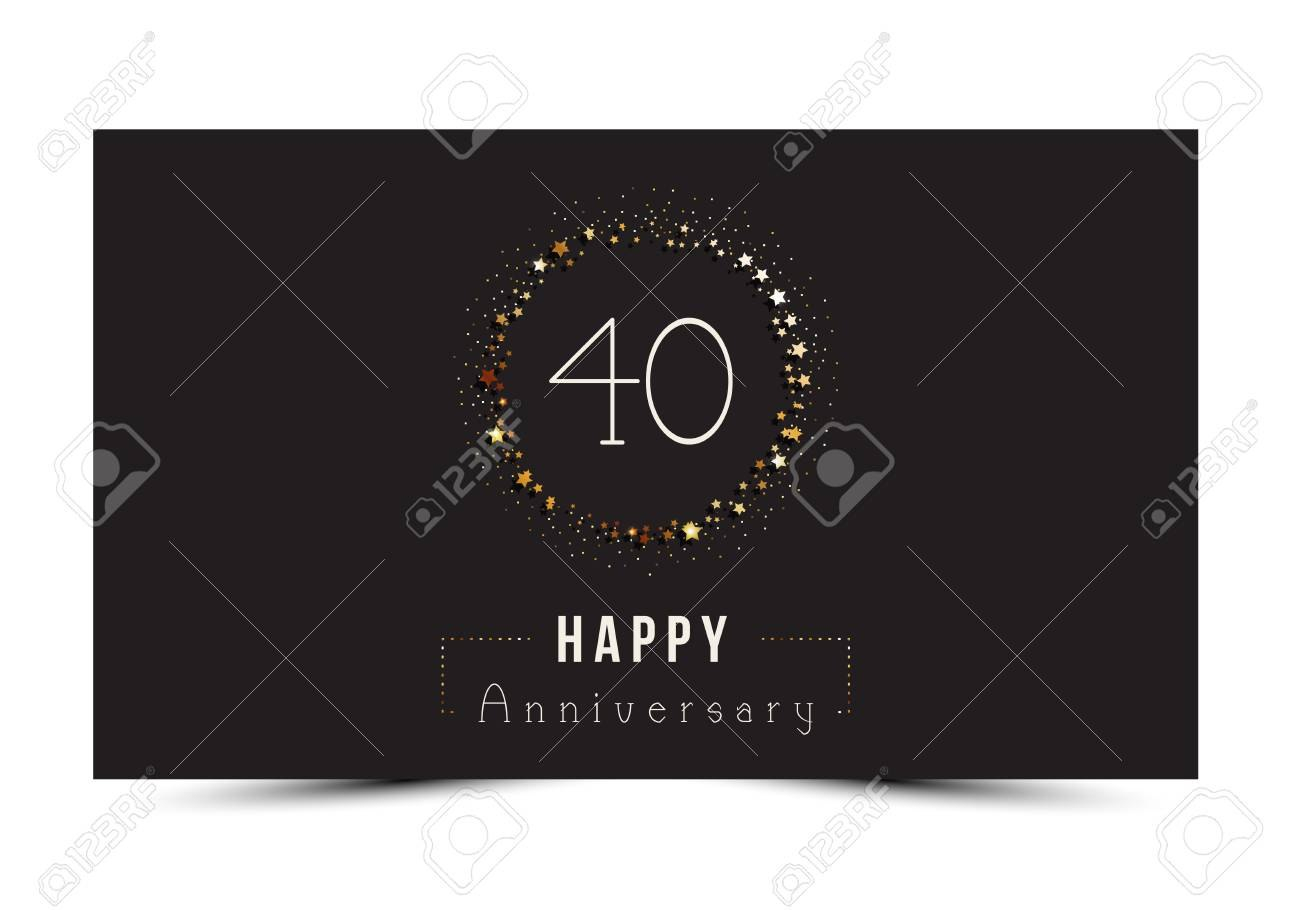 Years Happy Anniversary Card Template With Gold Stars Royalty In Template For Anniversary Card