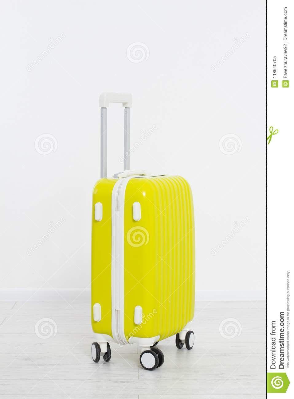 Yellow Suitcase On White Background Summer Holidays Travel Valise Within Blank Suitcase Template