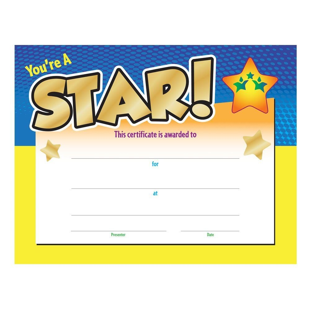 You're A Star Award Gold Foilstamped Certificate  Positive Promotions Throughout Star Of The Week Certificate Template