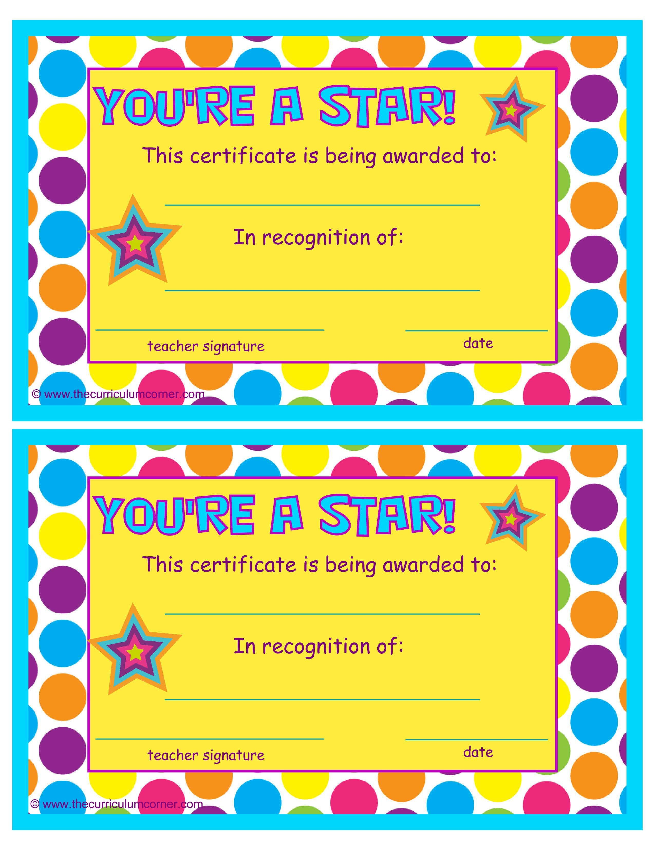 You're A Star End Of The Year Certificates  Classroom Within Star Award Certificate Template