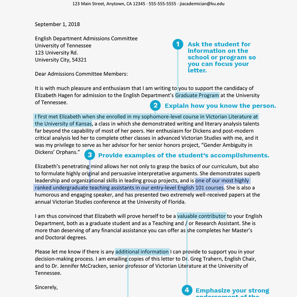 Academic Recommendation Letters In Letter Of Recommendation For Graduate School Template