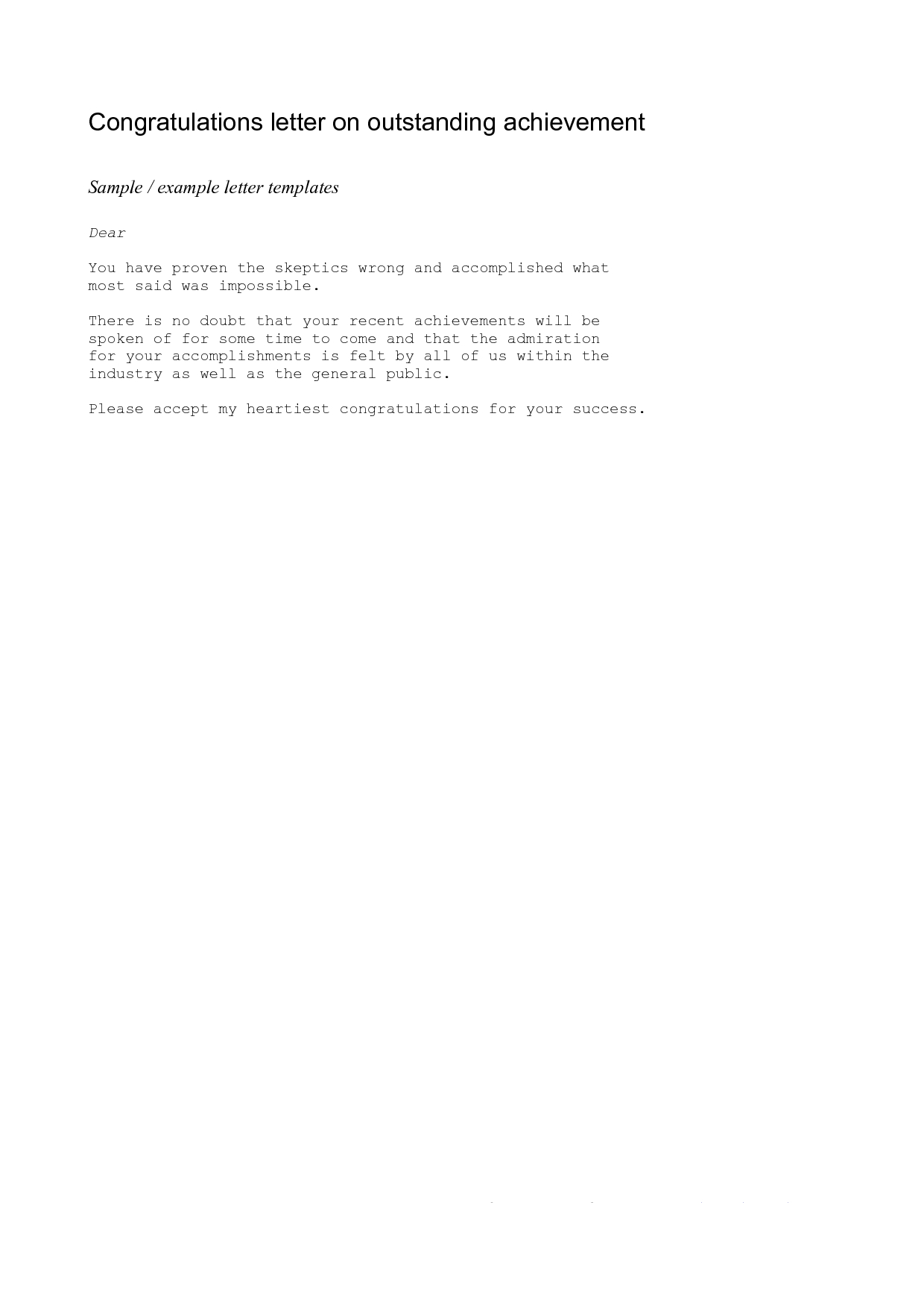 Achievement Congratulations Letter  Example Of A Congratulations Regarding Supermarket Bag Packing Letter Template