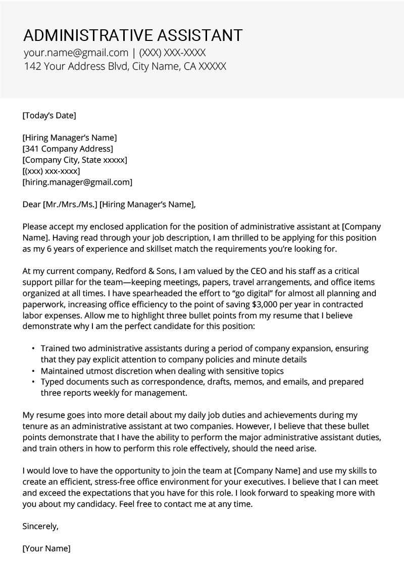 Administrative Assistant Cover Letter Example  Tips  Resume Genius Inside Cover Letter Template For Office Assistant