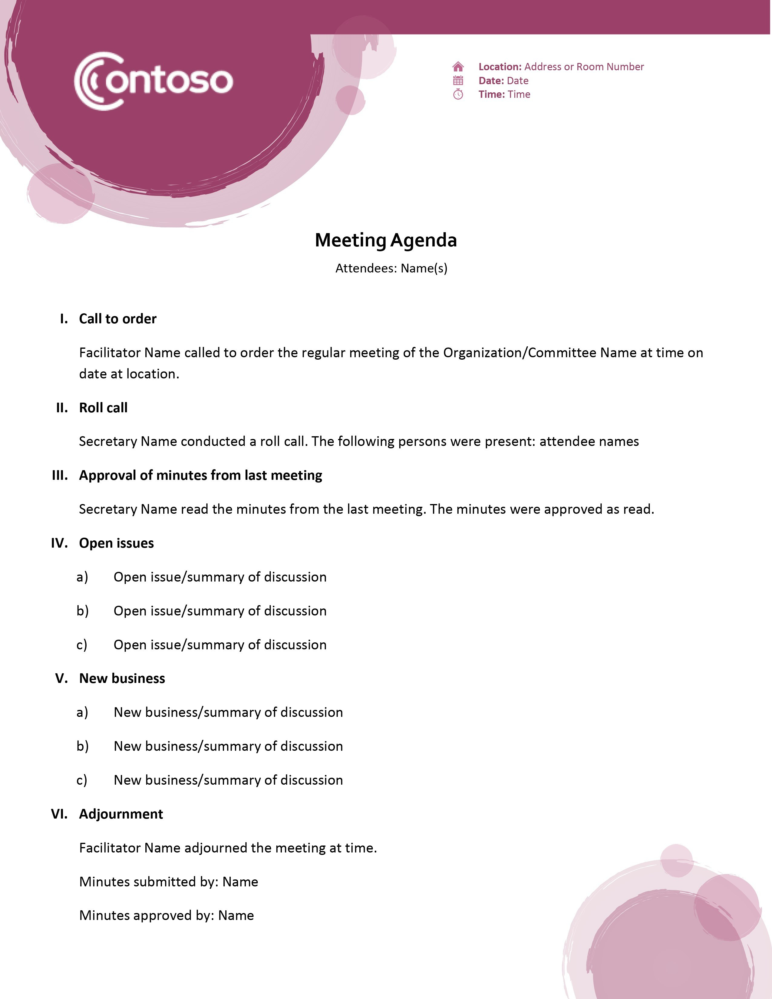 Agendas  Office For Meeting Agenda Template Word 2010