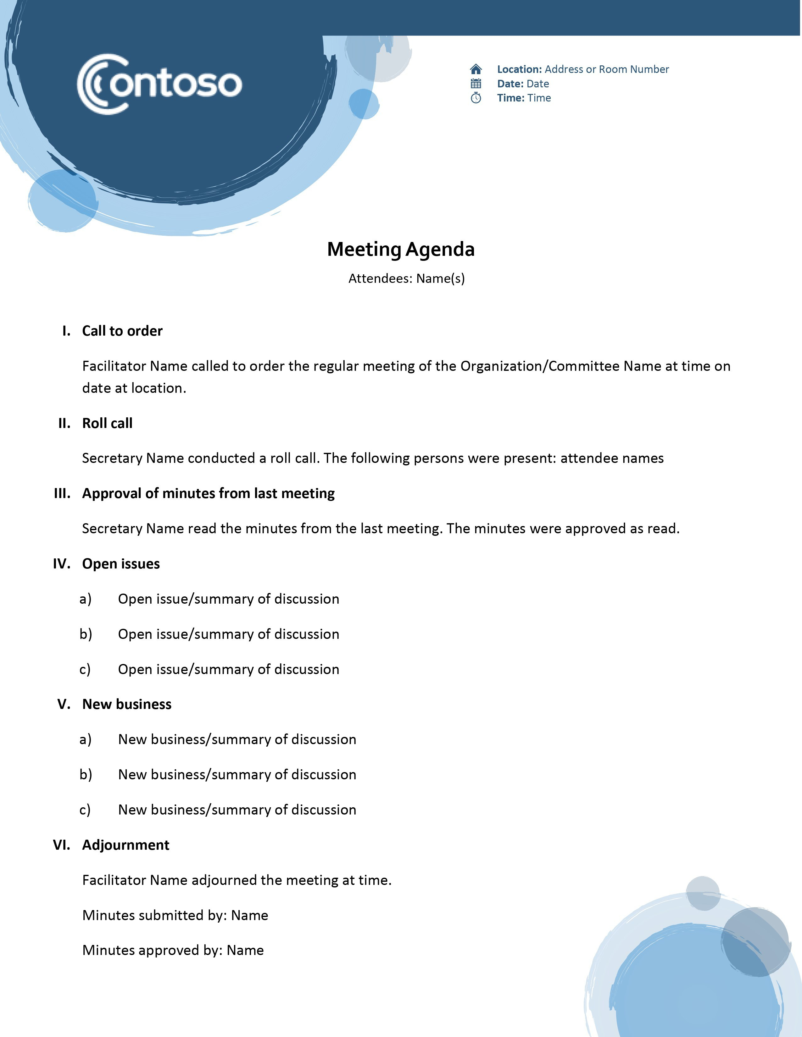Agendas  Office With Regard To Simple Meeting Agenda Template