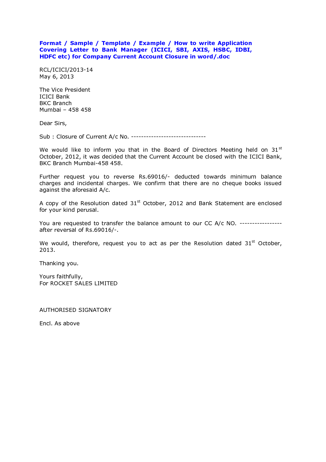 Bank Account Closing Letter Format Sample Cover Templates From Inside Account Closure Letter Template