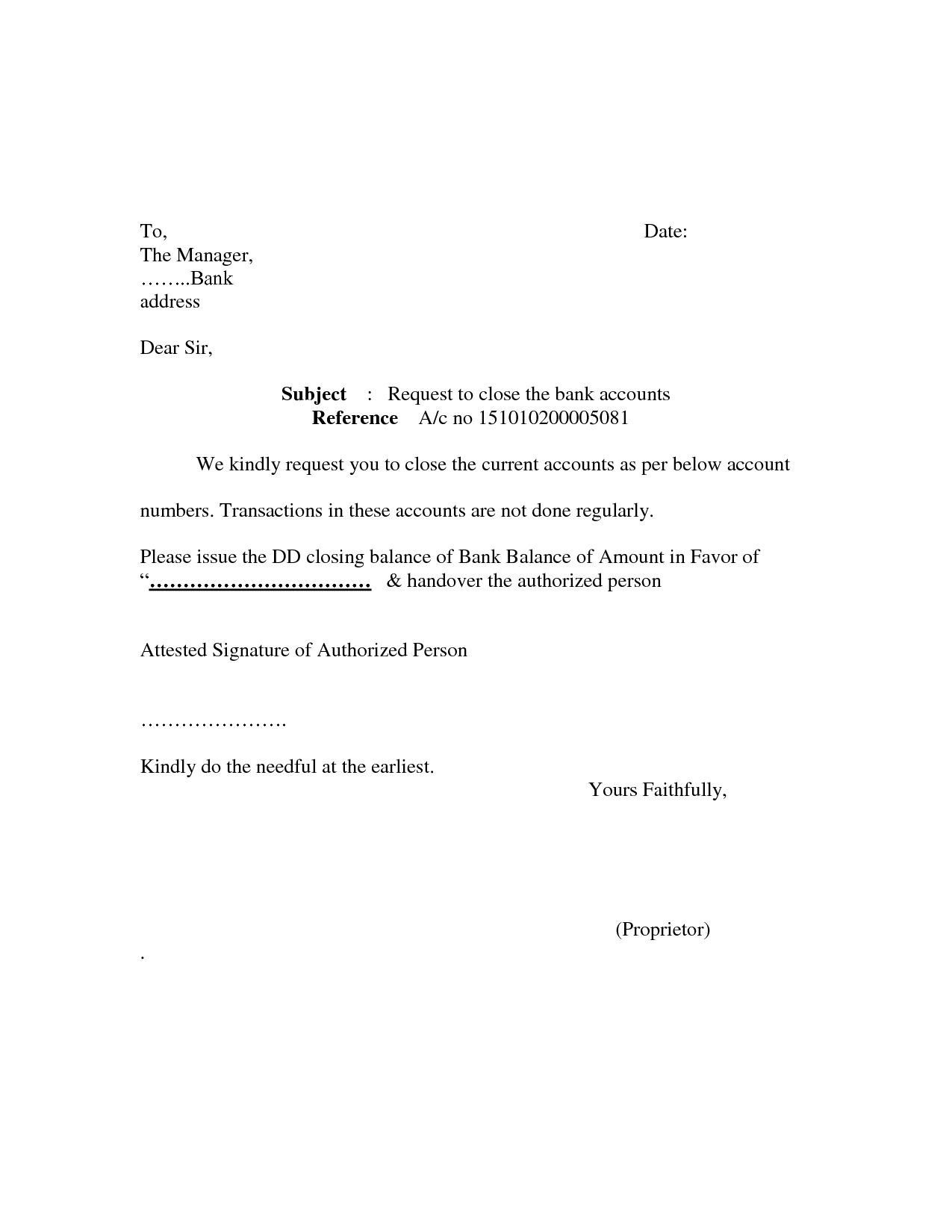 Bank Account Closing Letter Format Sample Cover Templates Throughout Account Closure Letter Template