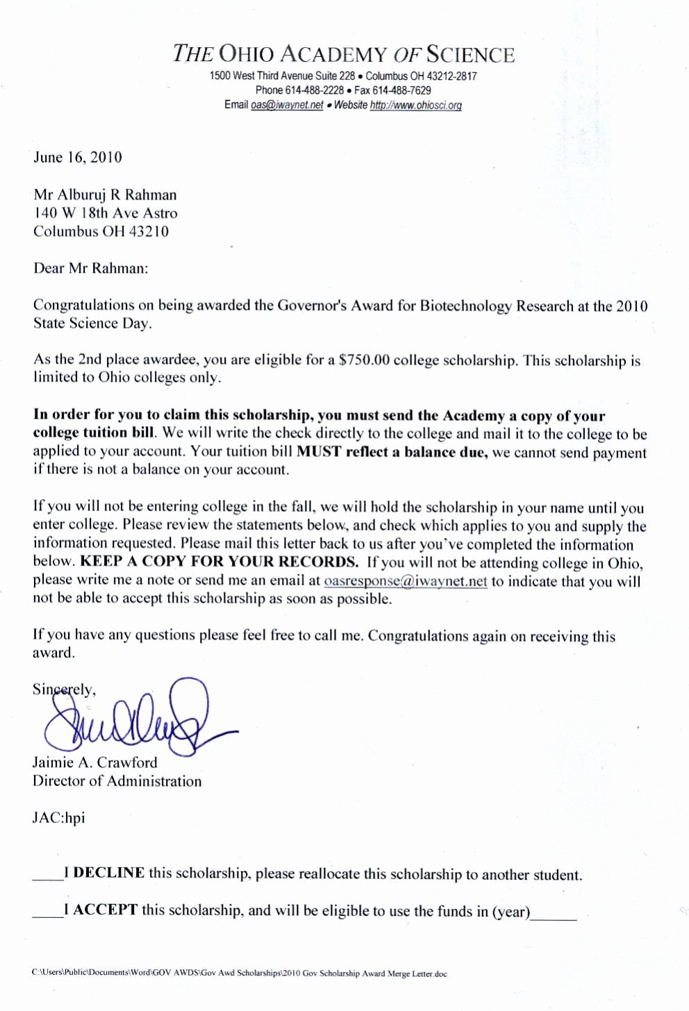 Beautiful Congratulations Scholarship Award Letter  Example In Scholarship Award Letter Template