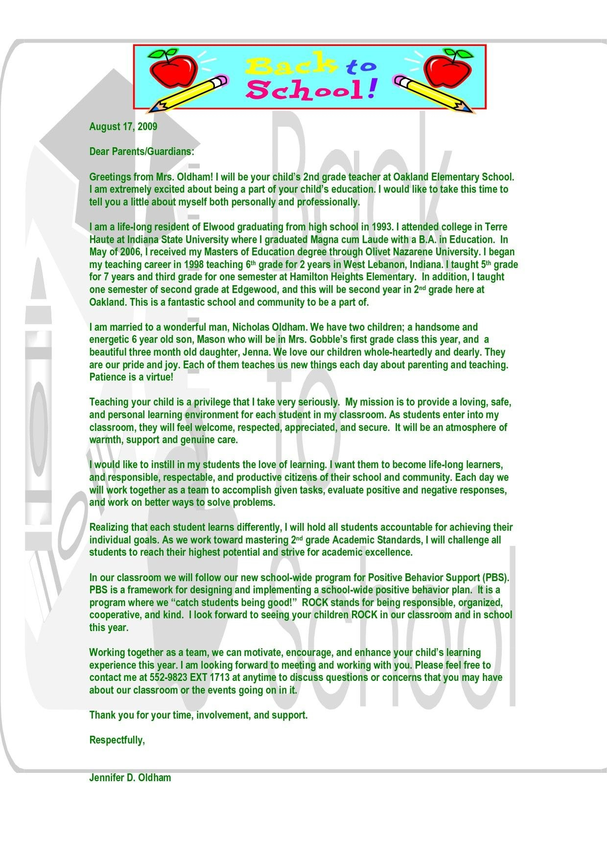 Behavior Letter To Parents From Teacher Template Collection Intended For Letters To Parents From Teachers Templates