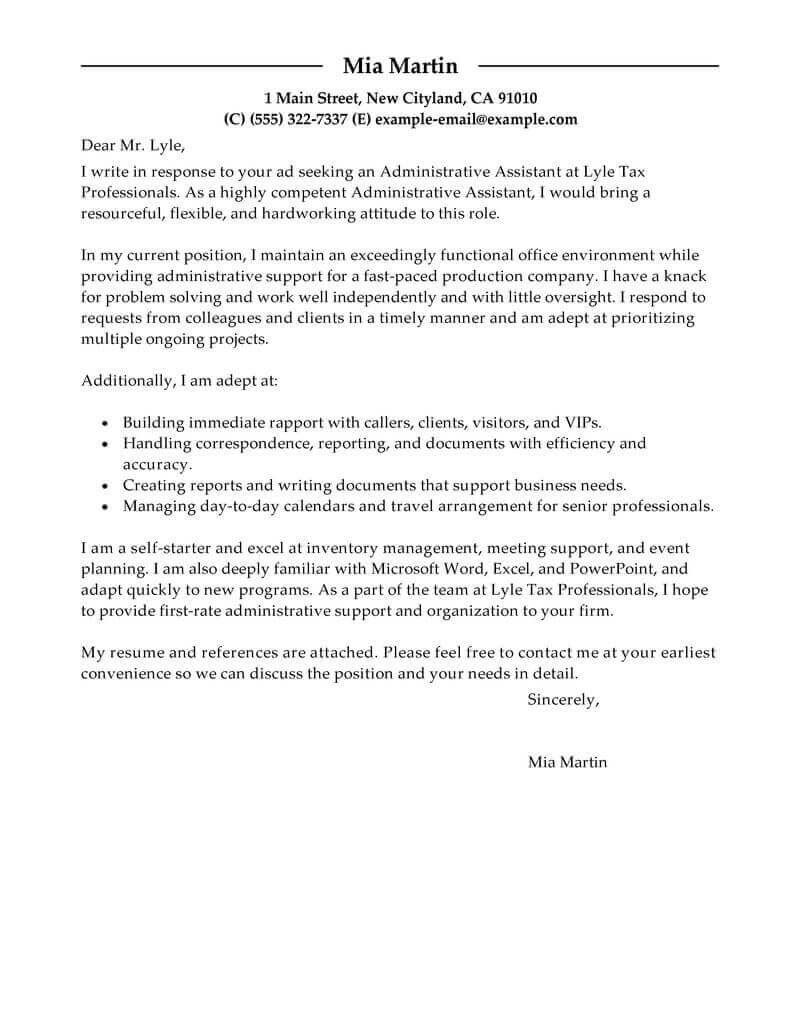 Best Administrative Assistant Cover Letter Examples  Livecareer For Cover Letter Template For Office Assistant