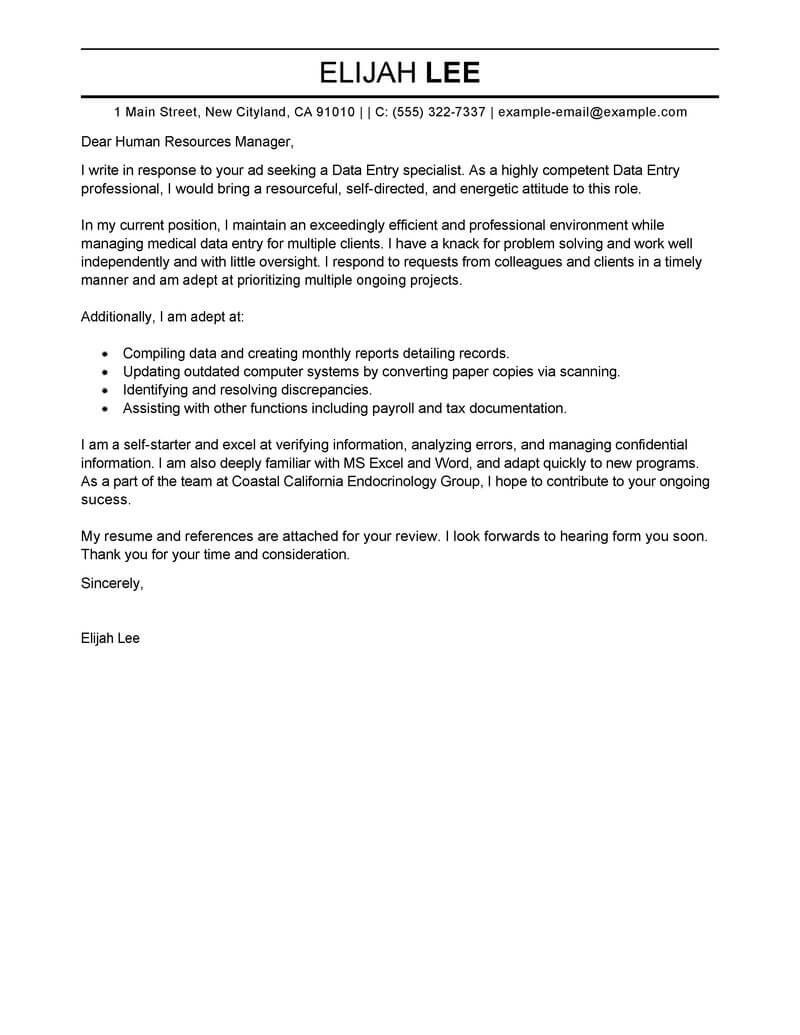 Best Data Entry Cover Letter Examples  Livecareer Within Request Letter For Internet Connection Template