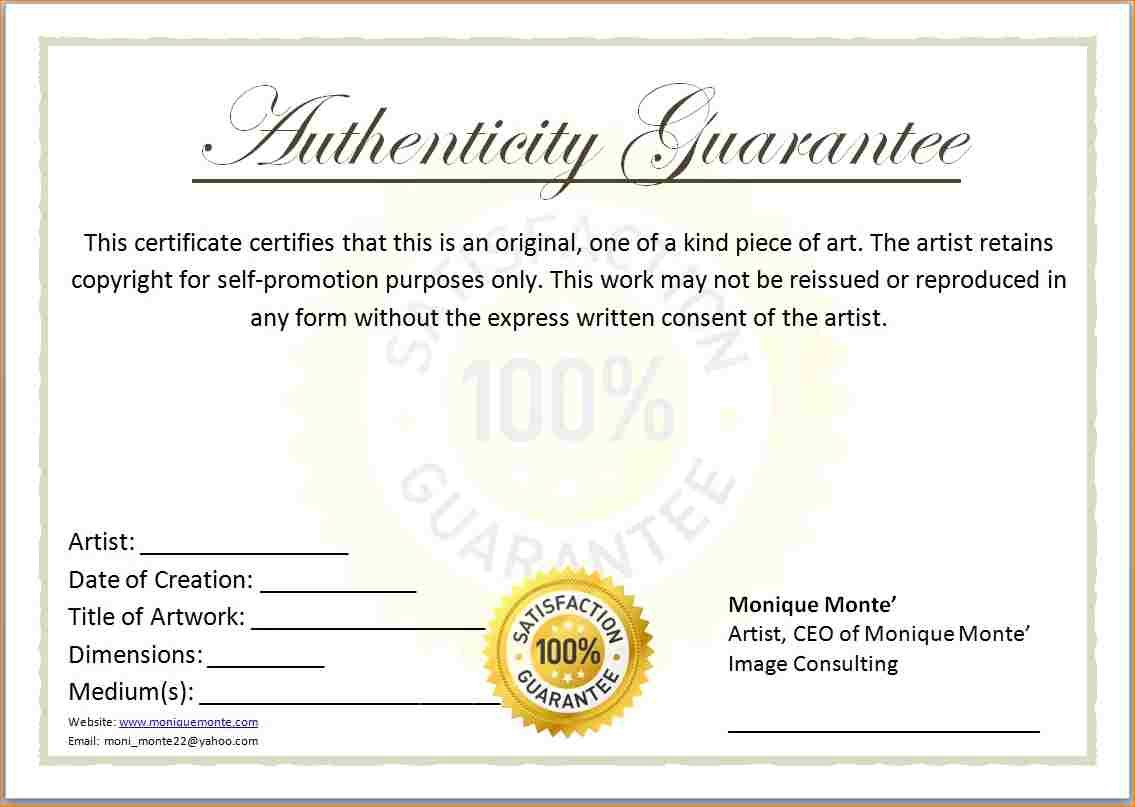 Blank Certificates Of Authenticity Templates  Dtemplates With Regard To Letter Of Authenticity Template