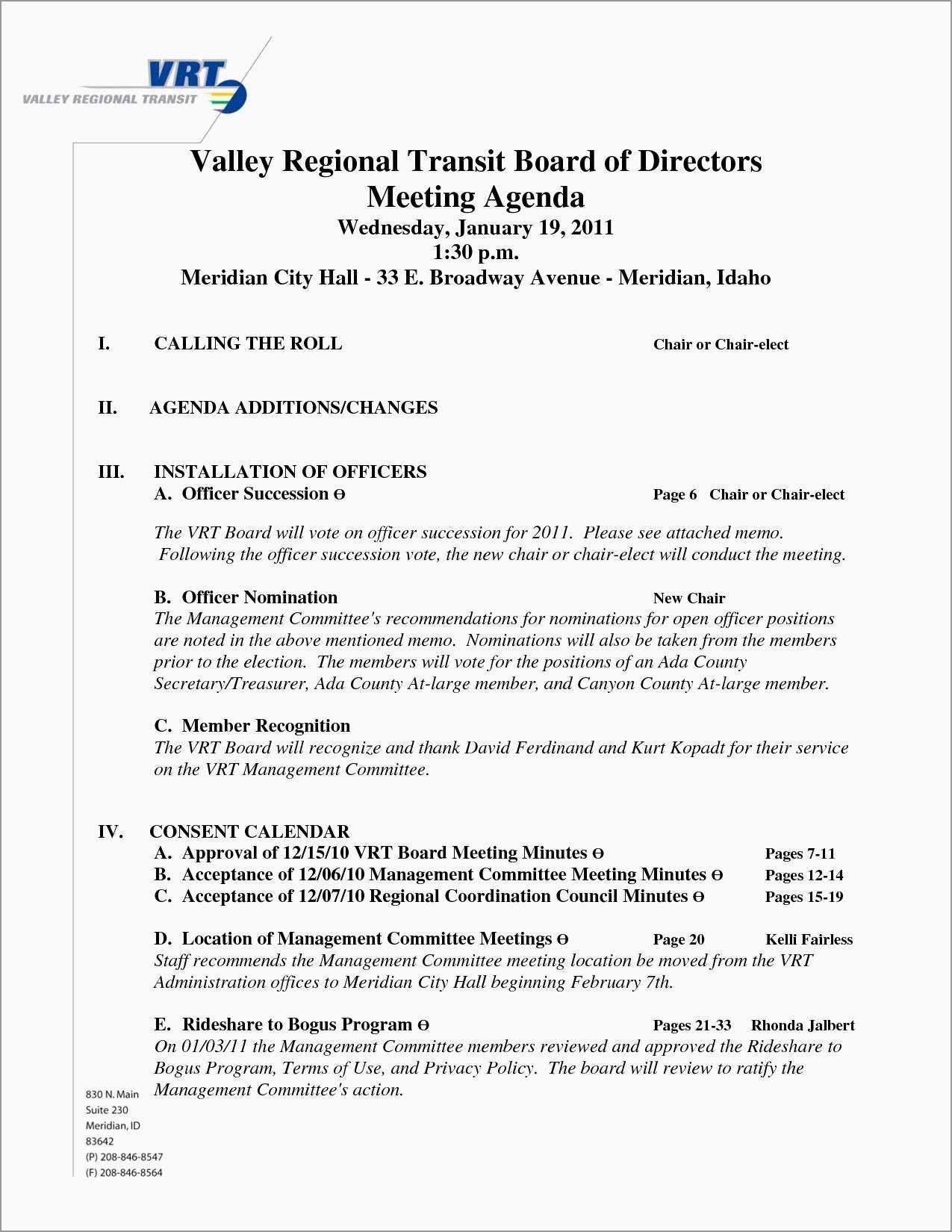 Board Of Directors Meeting Minutes Template Free Pleasant  Board Inside Board Of Directors Meeting Agenda Template
