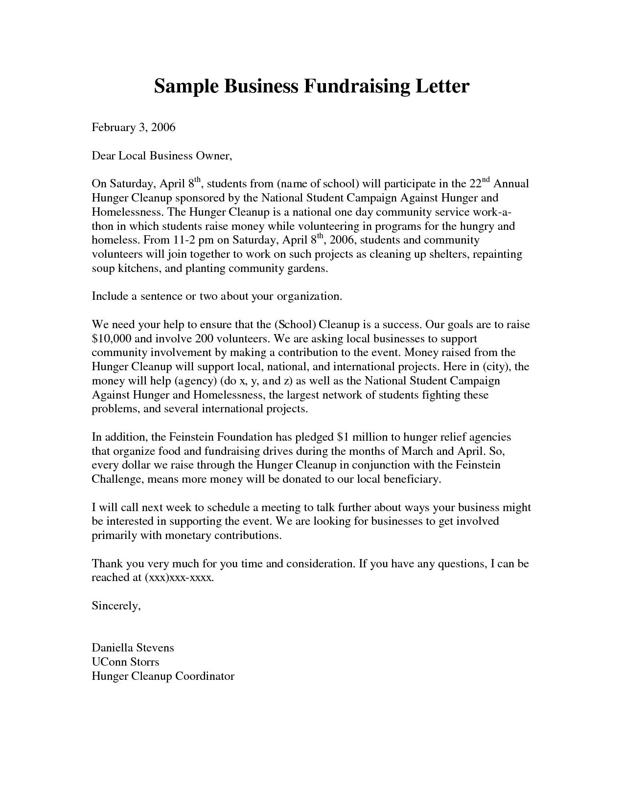 Business Fundraising Letter Sle Fundraising Letters  Nonprofit Regarding Political Fundraising Letter Template