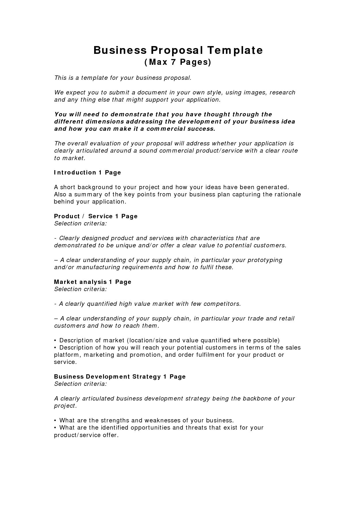 Business Proposal Templates Examples  Business Proposal Template With Short Proposal Template