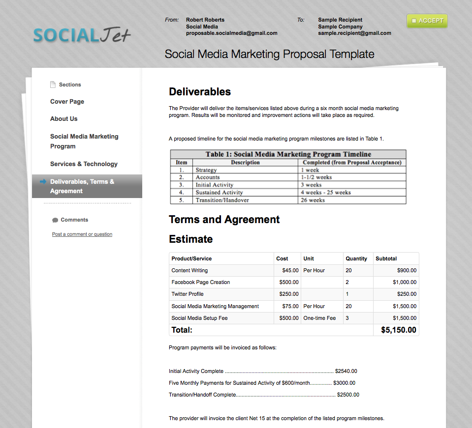 Business Proposal Templates  Proposable Throughout Pricing Proposal Template