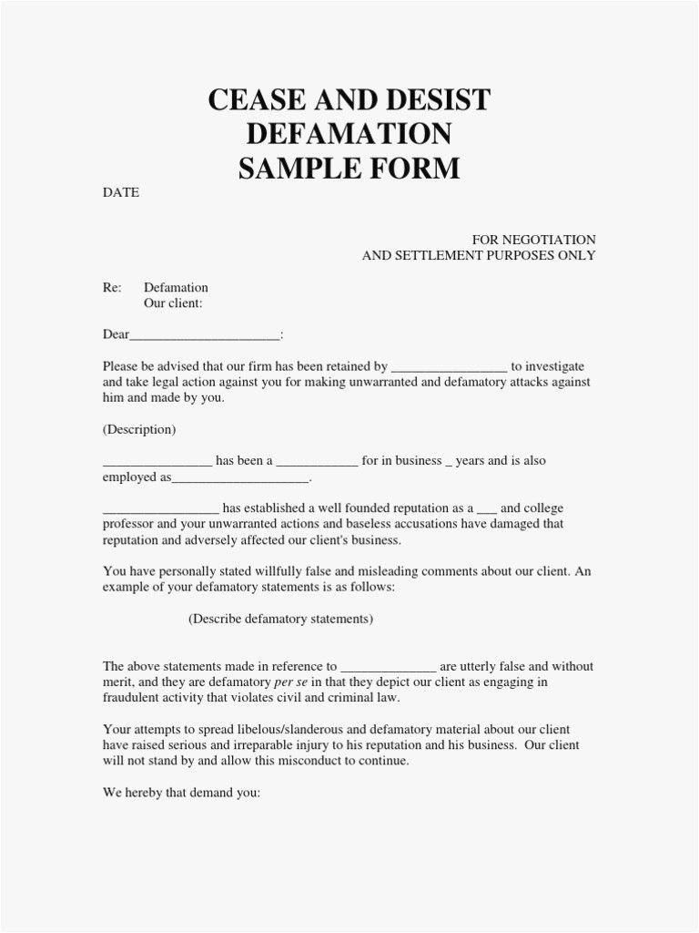 Cease And Desist Letter For Defamation Of Character Template With Cease And Desist Letter Template Defamation