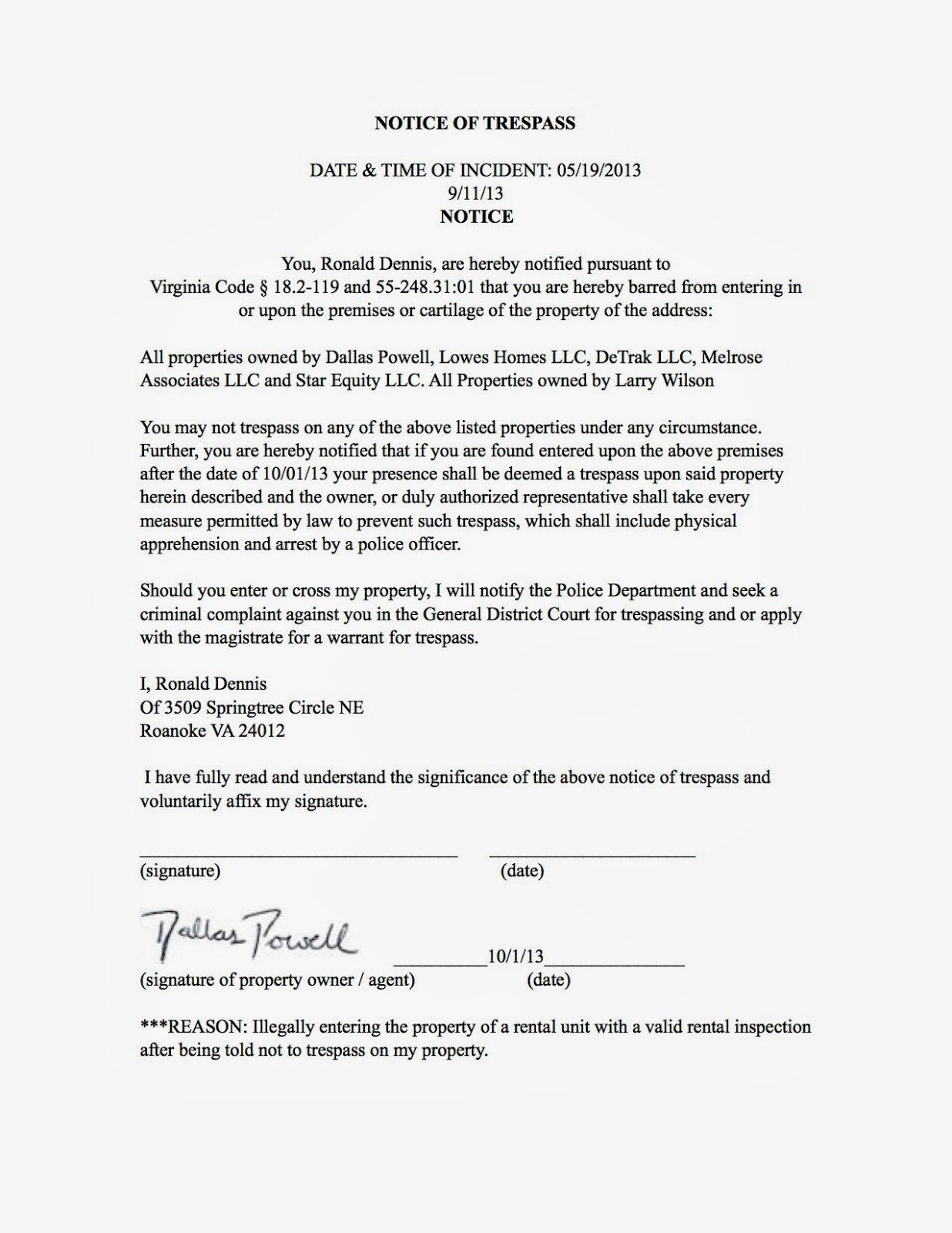 Cease And Desist Trespassing Letter Template Samples  Letter With Regard To Cease And Desist Letter Template Australia