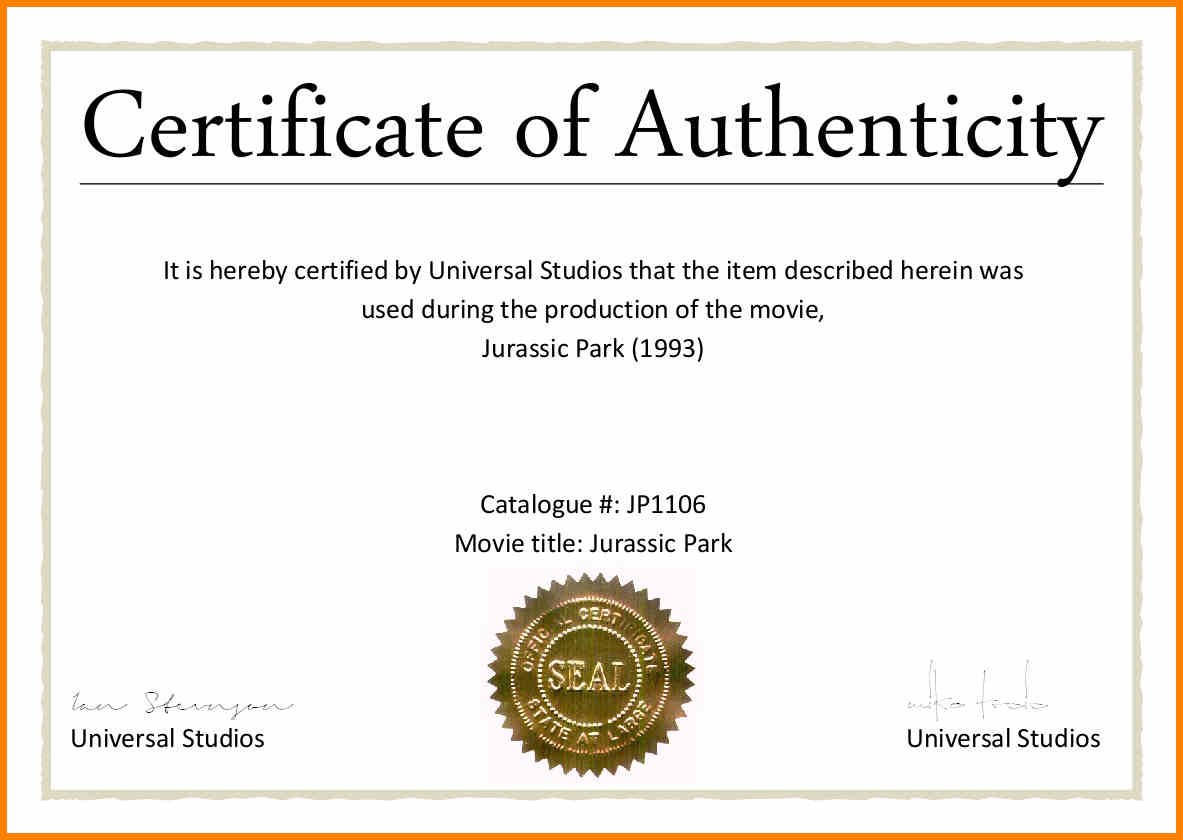 Certificates Of Authenticity Templates Filename  Fabulousfloridakeys Within Letter Of Authenticity Template